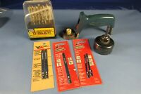 """Stanley Drill Bit Guide,13pc Drill Bits,5 new Vermont Jigsaw Blades,2 1/8"""" Hole"""