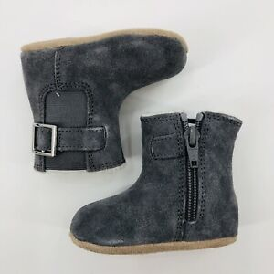 Robeez Mini Shoes Baby Girls Gwen Boots Size 2 3-6 Month New Gray Suede Leather
