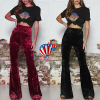 Women Ladies High Waist Velour Velvet Wide Flared Leg Pants Palazzo Trousers US