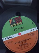 """FOREIGNER That Was Yesterday 1985 UK 3-track 12"""" Vinyl."""