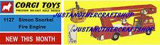 Corgi Toys 1127 Simon Snorkel Fire Engine Poster Advert Leaflet Shop Sign Flyer