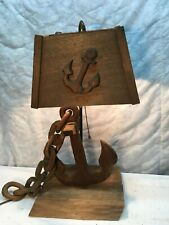 Vintage Nautical Lamp Boat Ship Anchor Hand Carved Wood Light Rare 24in Tall
