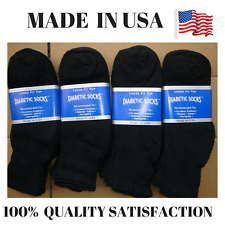 Creswell Top Quality 18 Pairs Made In USA Diabetic Socks Black Ankle 13-15 Size