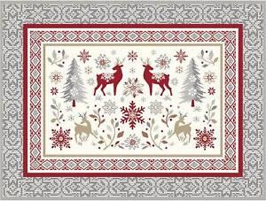2 Tischsets Weihnachten Jacquard 38x50 cm gewebt Hirsch rot grau ecru Frankreich
