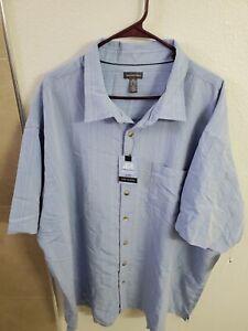 Van Heusen Men's Air Short Sleeve Button Down Poly Rayon Blue Ice Stripe Shirt