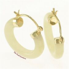 14k Solid Yellow Gold Hook Earrings Made of Honey Jade 4 x 20 mm Tube Ring -TPJ