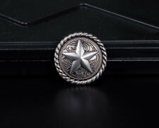 10PCS 3CM ANTIQUE SILVER ROUND ROPE EDGE STAR SADDLE RIVETBACK WALLET CONCHOS
