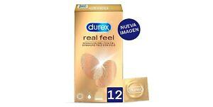 12x Durex Preservativos Real Feel Sin Latex Relaciones Condones Vida Intima