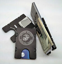 United States Marine Corp,Aluminum Wallet/Credit Card Holder RFID Protection BLK