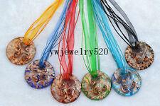 Wholesale Jewelry lots 9Pcs Round Murano Glass Pendant Silver P Necklace FREE