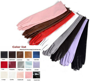 women new  below elbow real sheep leather long gloves multi colors
