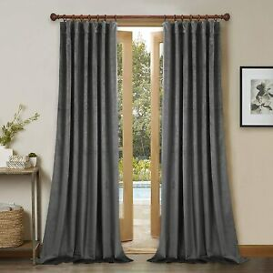 Grey Velvet Curtains Thick Plush Velvet Blackout Drapes, Back Tab Design