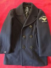 Ralph Lauren Polo Jeans Navy Wool-Blend Vintage Men's PeaCoat with Patch  -  S