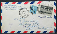 US Airmail Cover 10c 5c Rate 15c to Switzerland Lupo Letter (Lot #9014