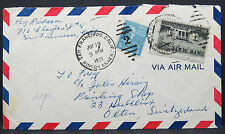 US Airmail Cover 10c 5c Rate 15c to Switzerland Schweiz Lupo Brief (Lot # 9014