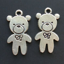 10x Retro Bear Tibetan Silver Animal Charms Pendant Bracelet Jewelry Accessories