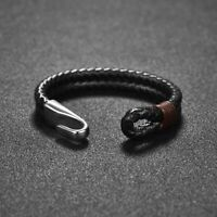 Classic Black Genuine Leather Bracelet Jewelry Bangle Stainless Steel for Men