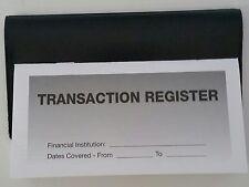 20  Checkbook Transaction Registers & 1 Black Vinyl Check Book Cover - Duplicate