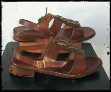 Women's Leather Harness Sandals 70's Boho Slingback Size 7 Worn Look