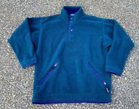 Vintage 90's Patagonia Dark Teal Button Snap Fleece Size Small Made In USA