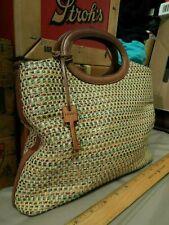 Fossil Brand Purse Handbag w/ Wood Key Chain [#75082] Brown Tweed Thatch Weave