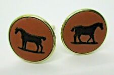 Vintage Gold Plated Sterling Wedgewood Cuff links Black Horse w/ Mauve Signed BC