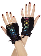 Retro 80's Rainbow Pride Shiny Sequin Fingerless Wrist Corset Lace-Up Gloves New