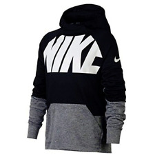 e65dcfa3 Nike Youth Boys Therma Black Gray W/ White Training Hoodie Athletic Pullover  L