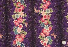 Fabric #2478 Asian Floral Stripe on Dark Purple Gold Metallic  Sold by 1/2 Yd