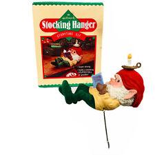 1987 Hallmark Storytime Elf Stocking Hanger Christmas Holder In Box Vintage