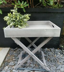Grey Wood Butlers Tray Table