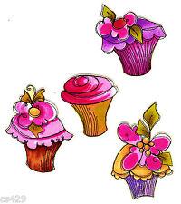"3"" Fancy loralie cupcakes fabric applique iron on"