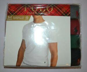 Polo Ralph Lauren Set of 4 Classic Fit Cotton Crew T-Shirts Size: Large (L) NIB!