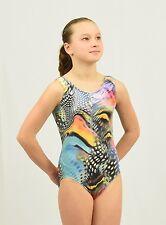 Gymnastics Tank Leotard size Med child or Xsmall adult stretch velvet multicolor