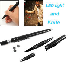 Black Multi-Tool Aluminum Tactical Pen With Knife LED Light For Self Defense