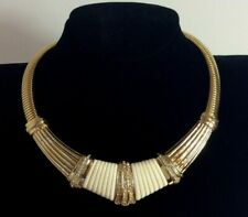 CHRISTIAN DIOR Germany 1980s Vintage Diamante & Lucite Necklace Gold Tone