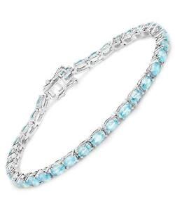 11.55 ctw Natural Blue Zircon Rhodium Plated 925 Sterling Silver Tennis Bracelet