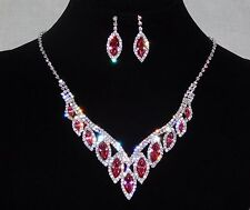 Silver with Clear Rhinestone & Fuchsia Bridal Necklace and Earrings Set