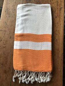 Turkish Hammam Towel Luxury Cotton  Bamboo Spa/ Yoga / Beach Peshtemal Orange