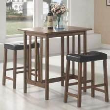 3 Pieces Casual Counter Height Table Saddle Bar Stool Dining Set in Nut Brown