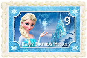 FROZEN ELSA RECTANGLE / SQUARE PERSONALISED ICING EDIBLE COSTCO CAKE TOPPER J086