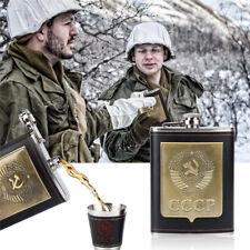 8oz CCCP Stainless Steel Hip Flask Liquor Whiskey Holder 2xCup 1xFunnel Gift Box