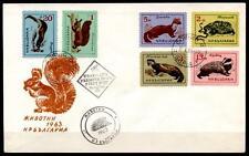 Kleine Tiere, u.a. Igel, Eichhörnchen, Dachs, Marder. FDC. Bulgarien 1963