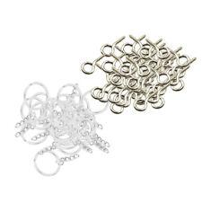 50pcs Metal Key Holder Split Rings Keyring Keychain + 50pcs Screw Eye Pins