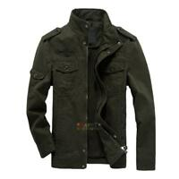 Windproof Mens Casual Military Jacket Washed Stand Collar Handsome Outwear Coat