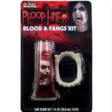 FAKE BLOOD + Fangs Vampire Werewolf Wolf Man kit Halloween Costume Accessory
