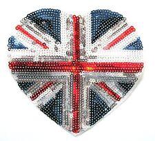Sequin Union Jack Heart Iron On Patch- Large UK Flag Applique Crafts 12 x 11cm