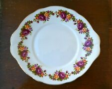Vintage Argyle 'Country Roses Design' Fine Bone China Sandwich Plate With Gold E