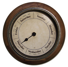 "DAY OF THE WEEK CLOCK #D582 Parchment dial 9""/antique wood frame/glass lens"