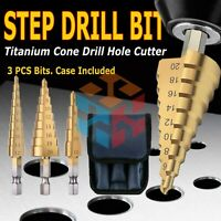 3pcs/Set Titanium Step Cone Drill Hole Cutter Bit HSS Large Set Tool With Pouch